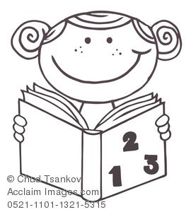 Clip Art Picture Coloring Page Of A Girl Reading A Book For School Homework Girl Reading Book Coloring Pages Cartoon Clip Art