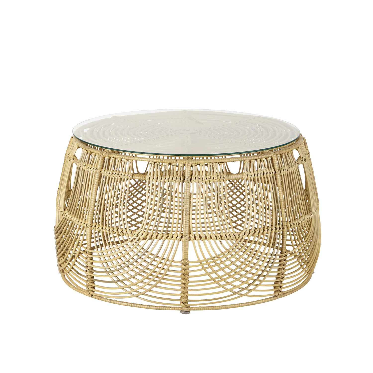 Round Rattan And Black Metal Coffee Table Manoha On