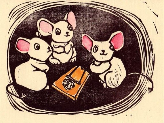 Hello Mice Linocut by loadedhipspress on Etsy