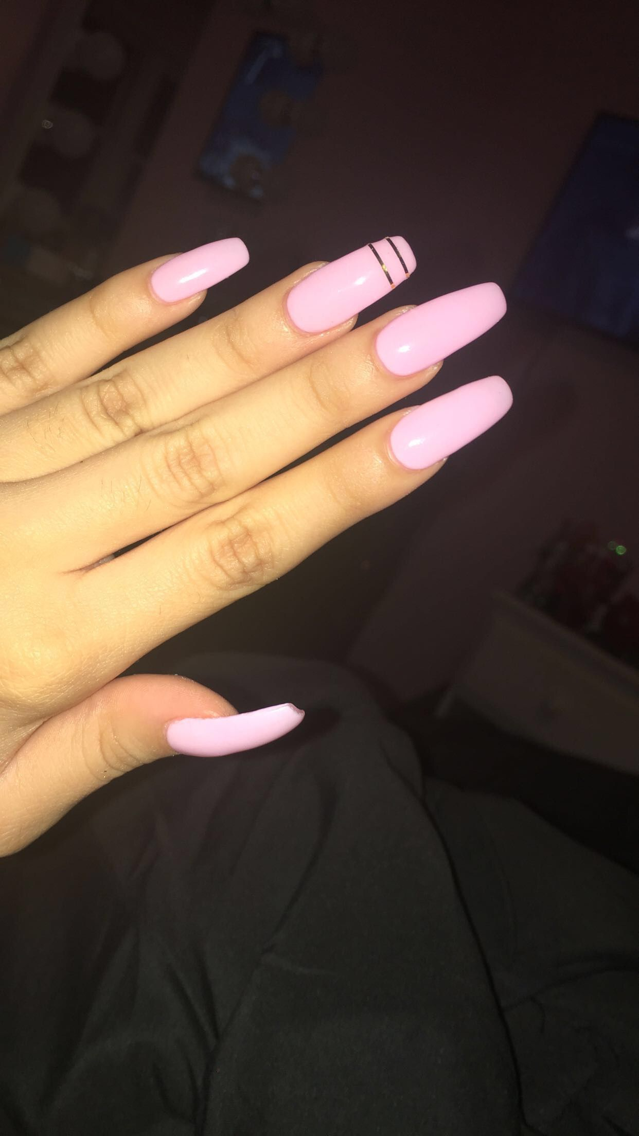 Light pink long acrylic coffin shape nails | My Nails ...