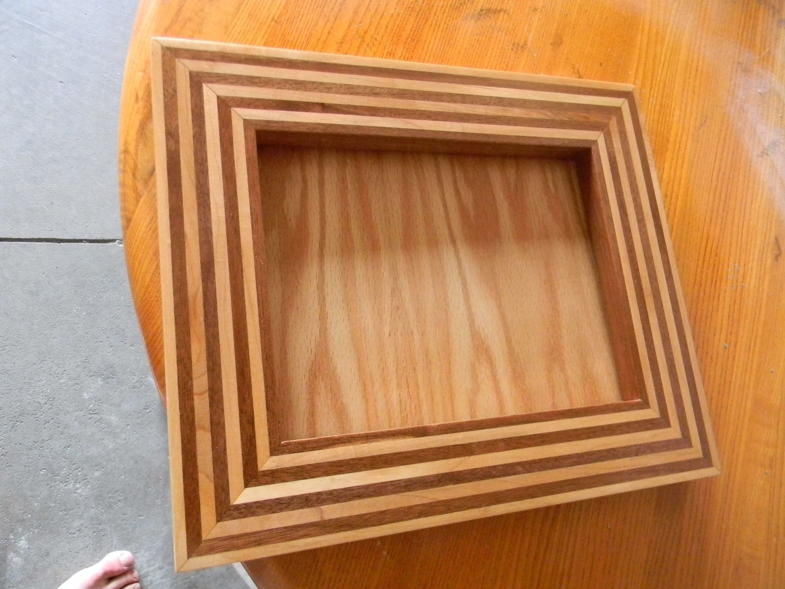 Custom Made Darkwalnut And Hard Maple Striped Picture Frame