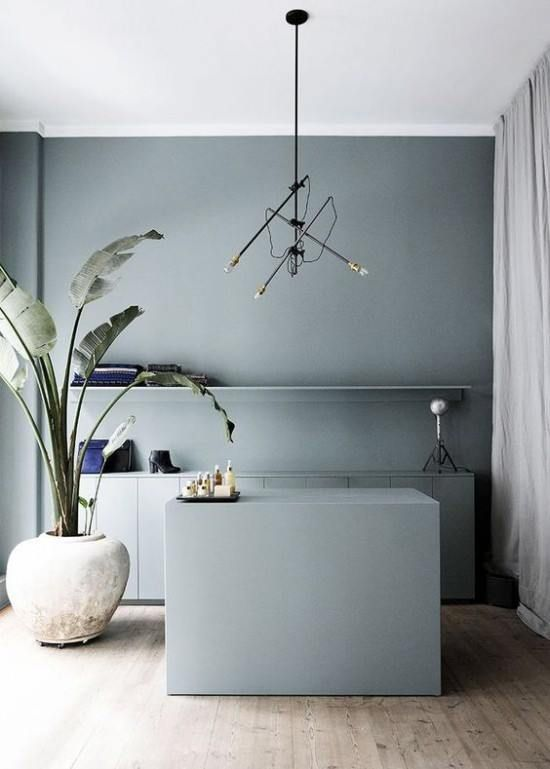 Muted Blue Gray Paint Pastel Interior House Interior Interior
