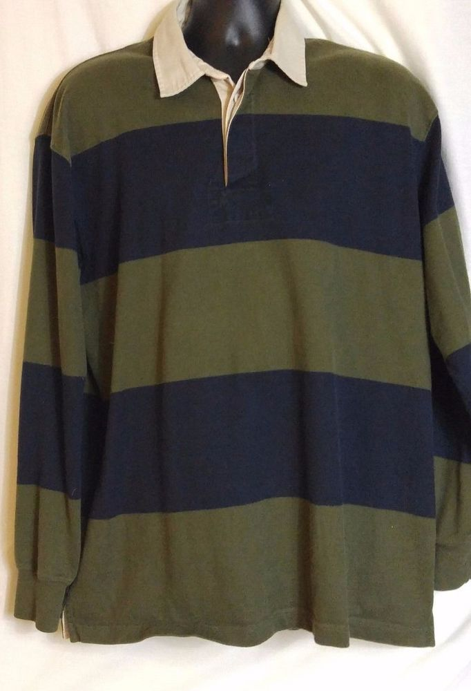 f47bcb844 L.L. Bean Mens Multi-color Striped cotton Rugby Shirt. Size Large #LLBean  #PoloRugby