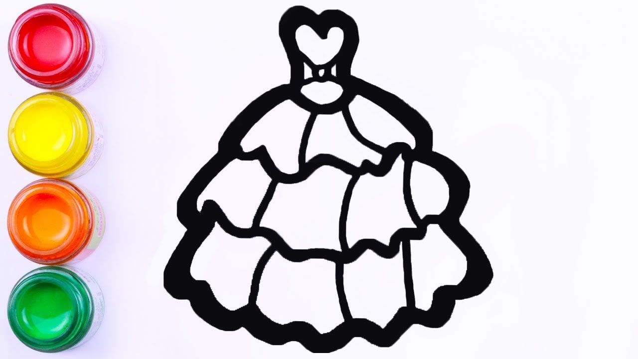 Barbie Dress Girls Cute Dress Drawing And Coloring For Girls Kids Pai Painting For Kids Dress Drawing Drawings