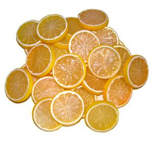 50pcs Fake Lemon Slice Garnish Artificial Fruit Faux Food