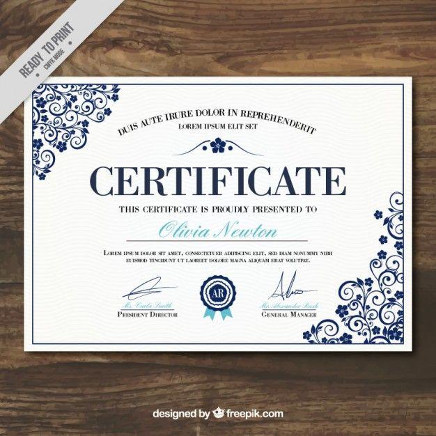 certificado elegante modelo de realização