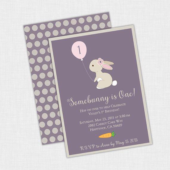 Bunny Birthday party Somebunny Balloon Invitation 5 x 7 DIY