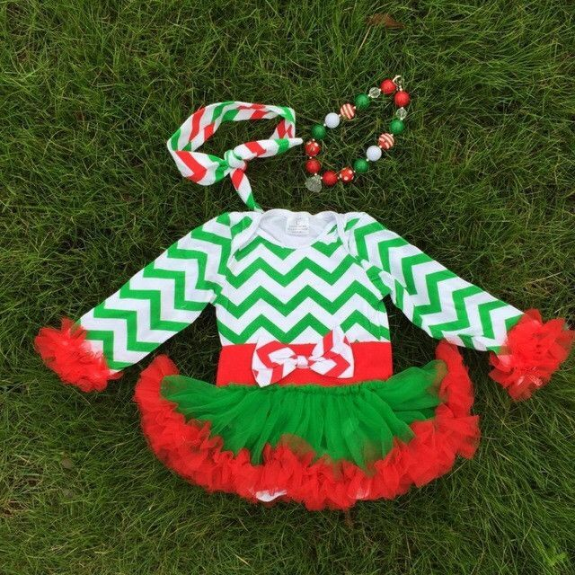 Chevron Christmas Tutu Dress and Accesories