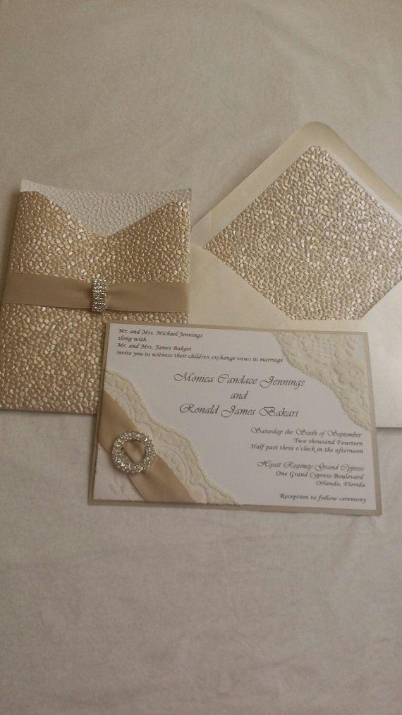 Monica- Embossed Pocket Wedding Invitation, Pocketfold Wedding ...
