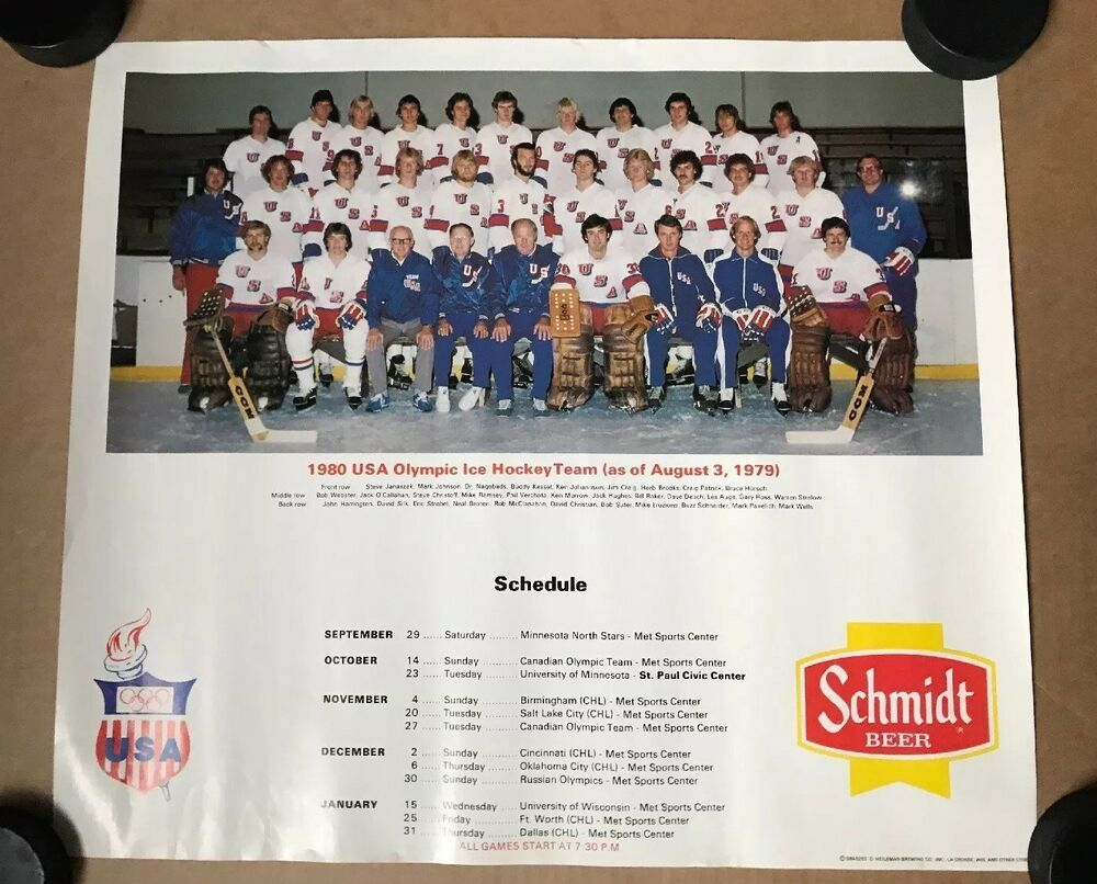 1980 USA Hockey Team Bar Poster Schedule Miracle On Ice