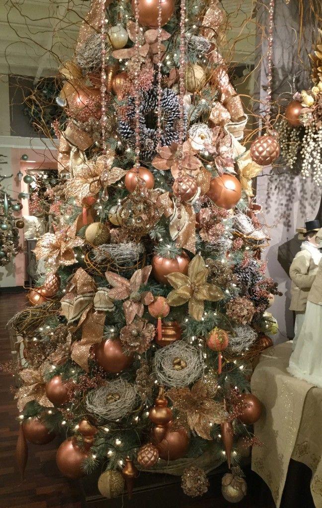 rose gold trendy glamorous unique christmas tree dallas interior design baker group custom