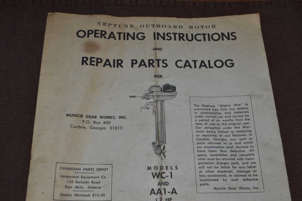 Neptune Outboard Motor Operating Instruction Repair Parts Catalog