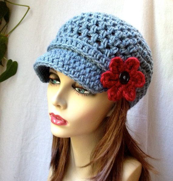 crochet newsboy hat with band and flower | Crochet Hat, Teens Womens ...