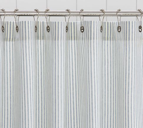Apt Bath Shower Curtain Vintage Ticking Stripe
