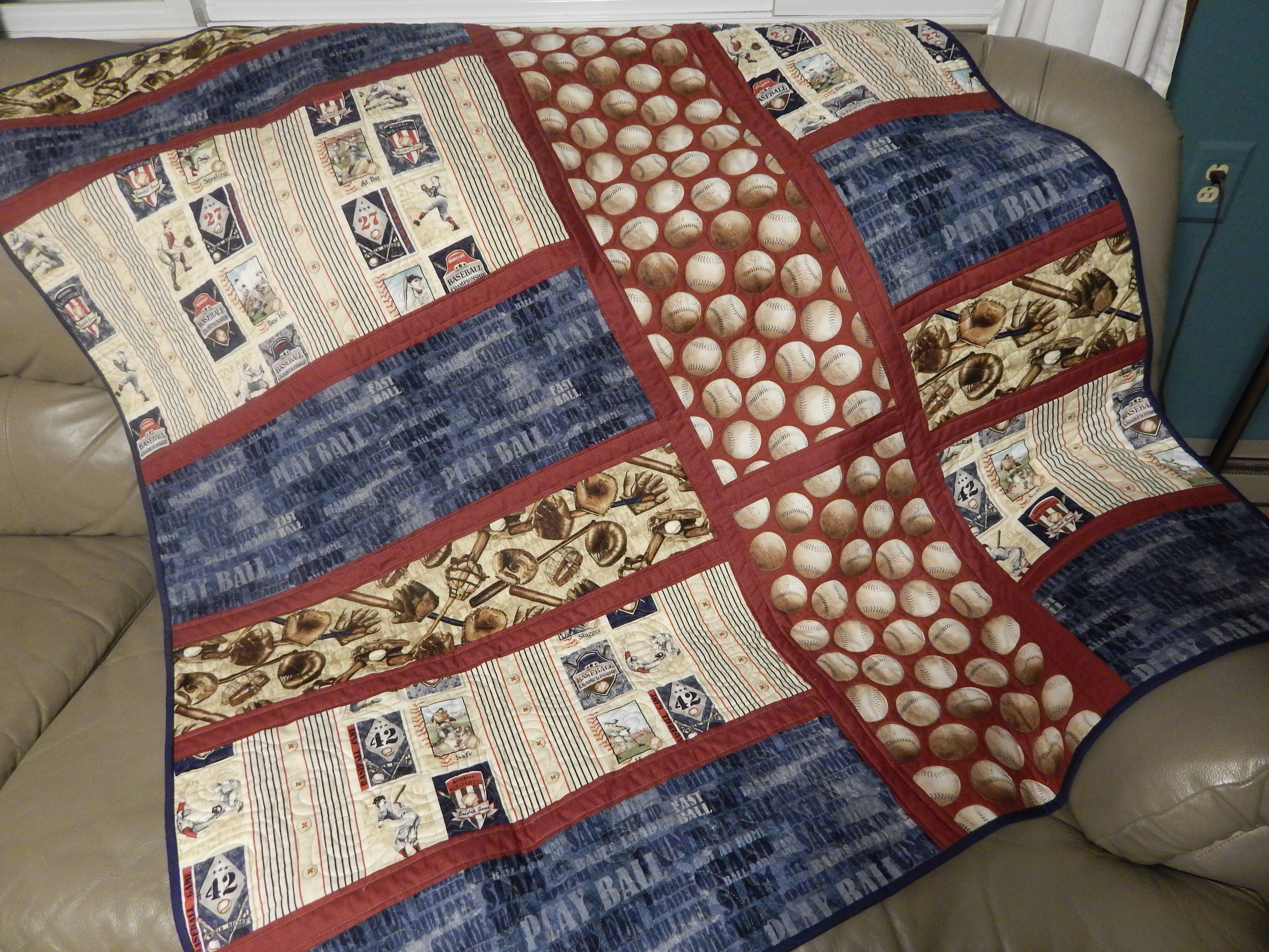 A quilt made for a friend's grandchild. Baseball themed, extra ... : what is quilt used for - Adamdwight.com