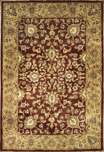 This beautiful Handmade Tufted Rectangular rug is approximately 6 x 9 New Contemporary area rug from our large collection of handmade area rugs with Persian Kashan style from India with Wool