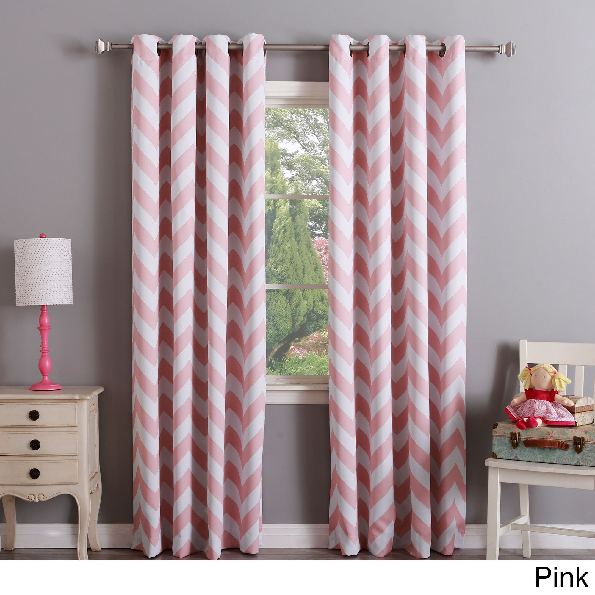 Aurora Home Chevron Print Room Darkening Curtain Panel Pair Pink 108 Inch Size 52 X