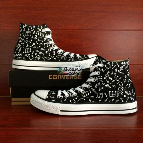 aad42238431d High Top Converse All Star Shoes Music Notes Hand Painted Canvas Shoes
