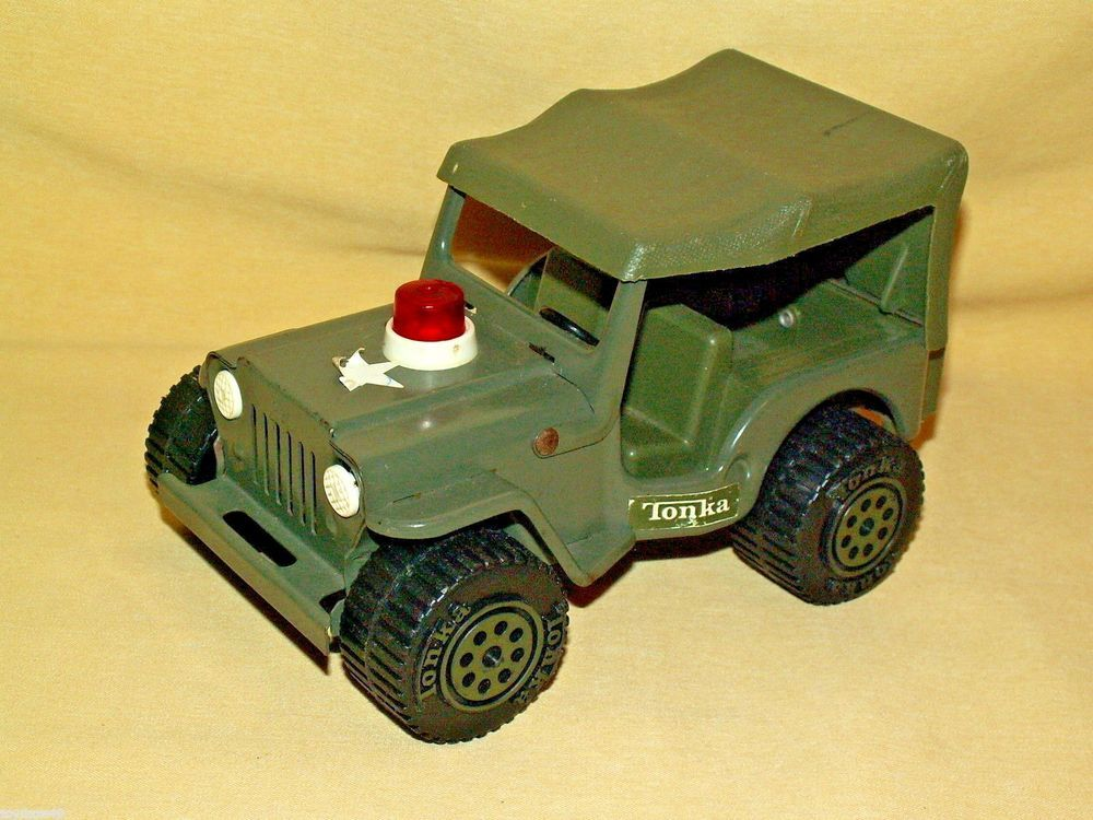 Tonka Jeep Army Hard Top Red Light Siren 810094 Vintage Toy ...