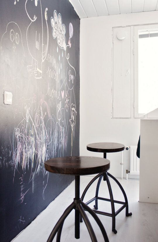 Love this - kitchen chalkboard wall.