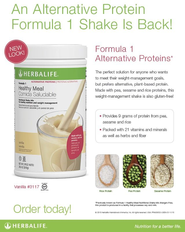 If you prefer alternative, plant-based protein, you'll be happy to know that Formula 1 Alternative Proteins* is here! Made with pea, sesame and rice proteins, this healthy and delicious weight-management shake is also gluten-free! #TeamHerbalife #herbalifenutrition #herbalife #determination #motivation #healthylifestyle #healthychoices
