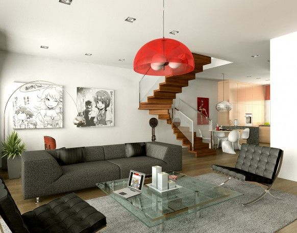 Attractive Stylish Red Huge Pendant Lamp White Living Room Decor With  Comics Painting An D Wooden Staircase For Home And Advice For Home  Furniture And Home ...