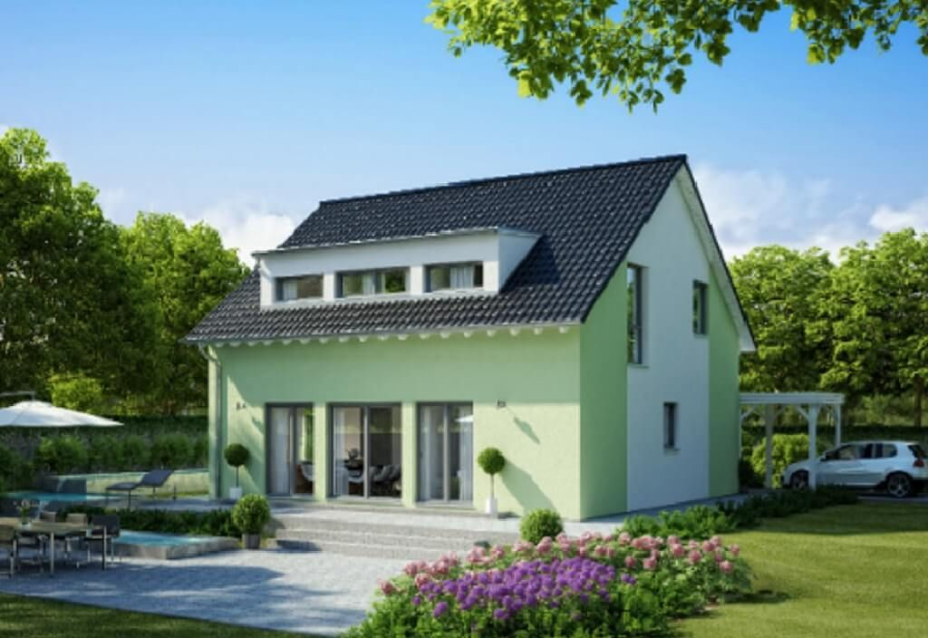 Fassadengestaltung Einfamilienhaus Grün