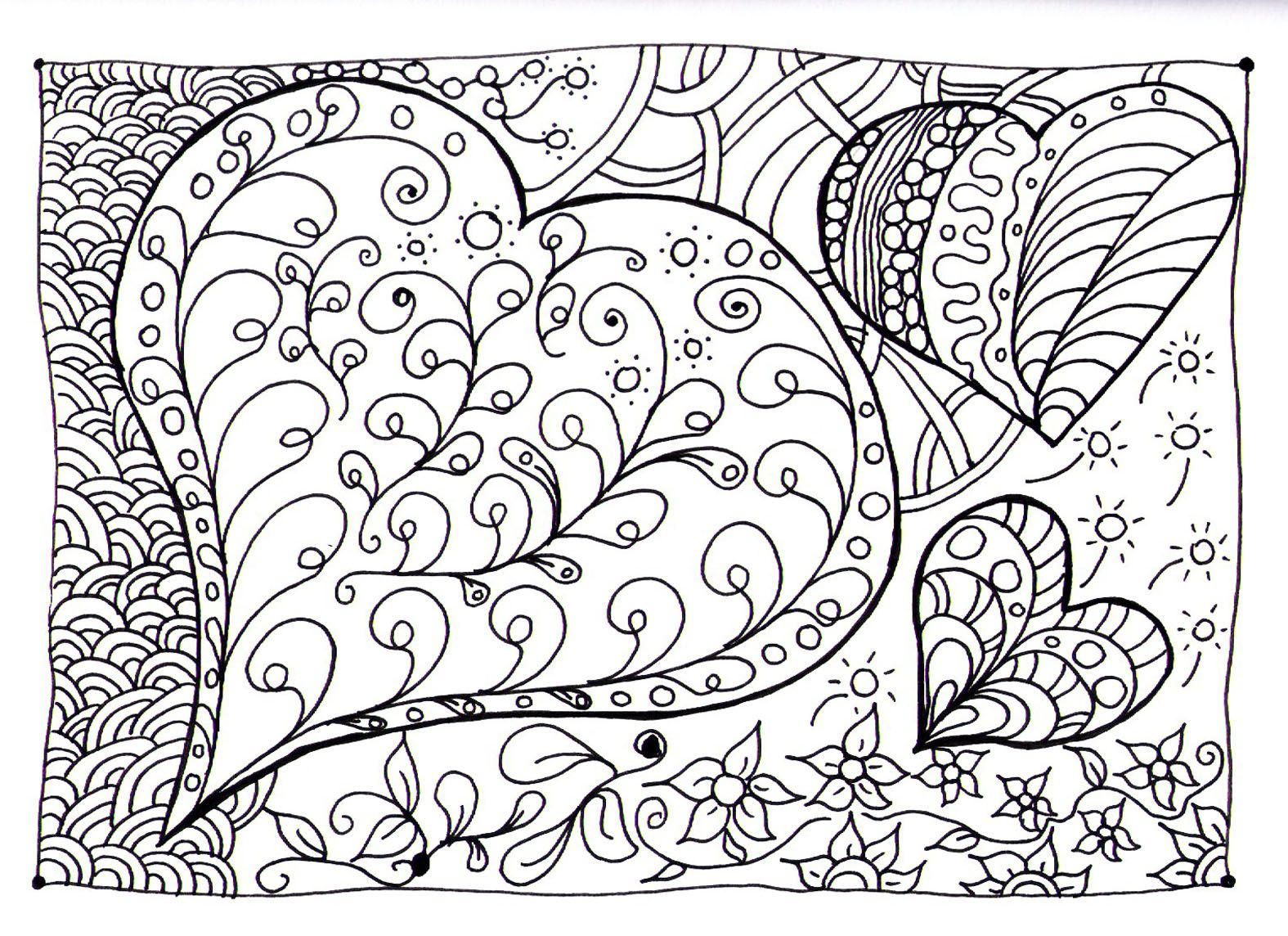Free Coloring Page Heart Zen Magnificient Based On Drawings Of Hearts And Other Shapes