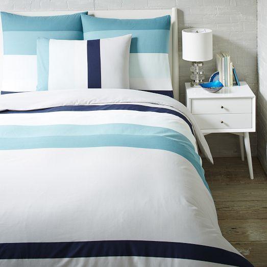 Stepped Stripe Duvet Cover Shams Aquamarine Home Decor Bedroom Striped Duvet Covers Small Space Interior Design
