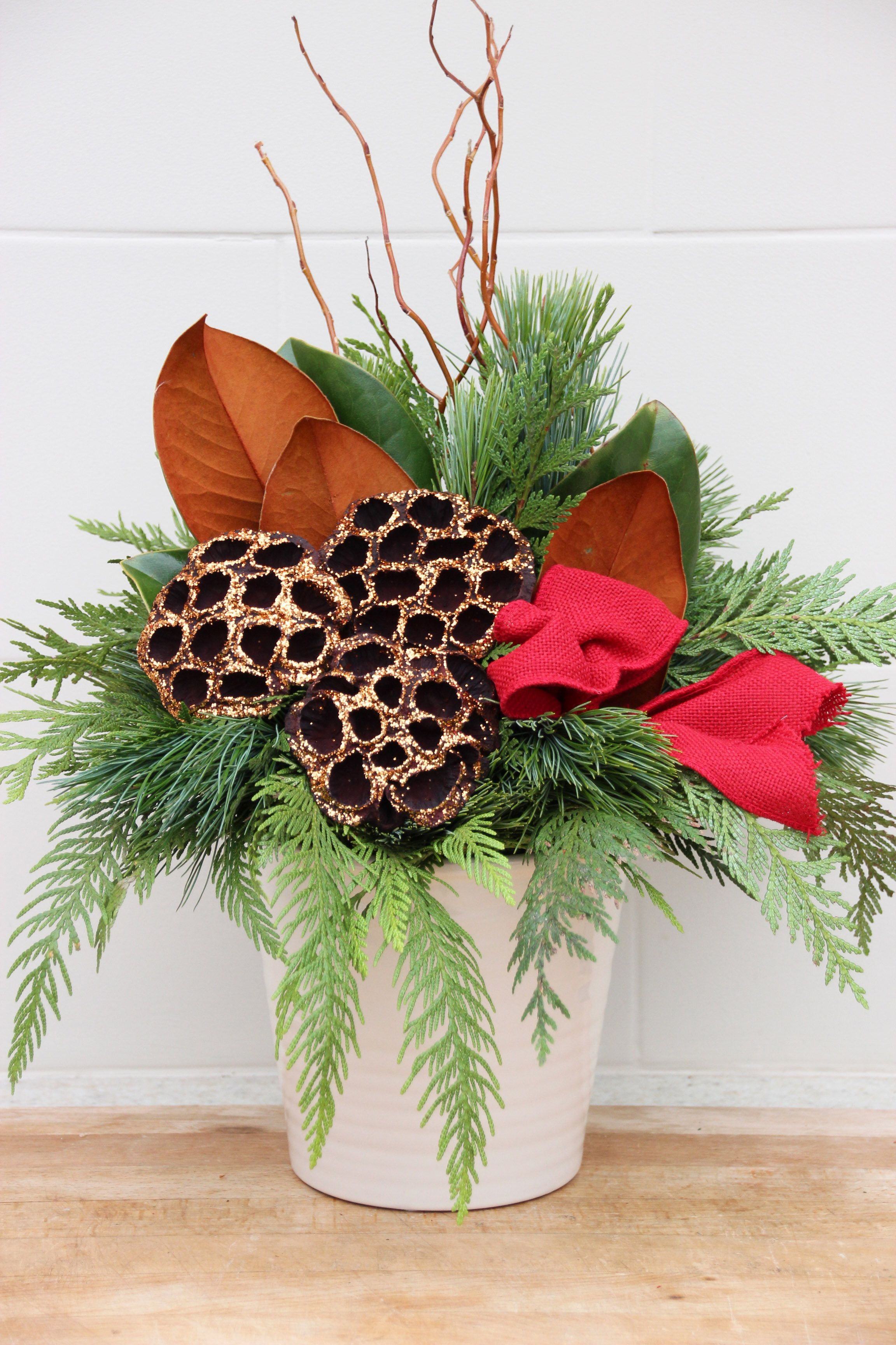 Indoor evergreen arrangement for the Christmas season
