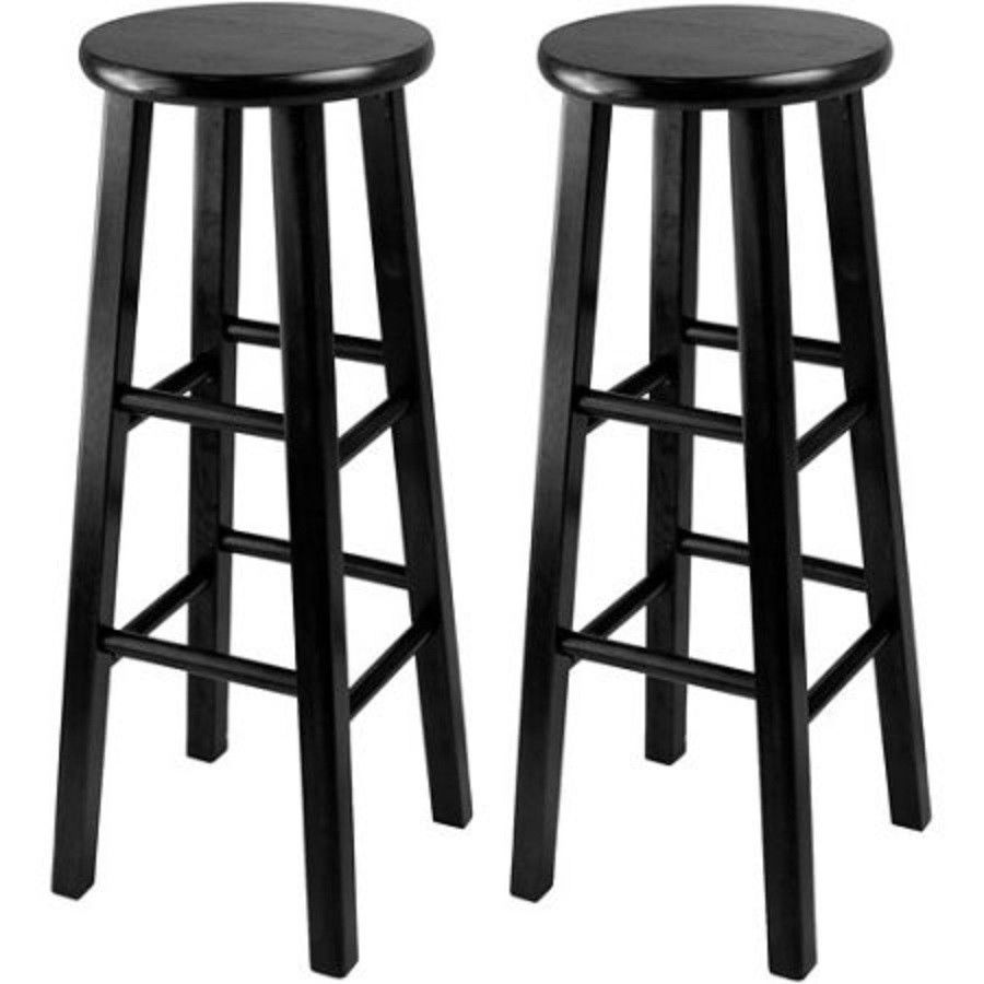 Bar Stools Set Of 2 Backless Solid Wood Square Legs 29 Inch Seat