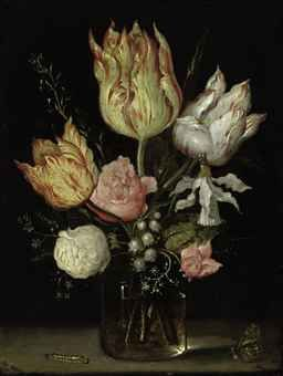Tulips, roses, a bluebell, Narcissus tortuosis, forget-me-nots, lily of the valley and cyclamen in a flask, on a ledge with a caterpillar, b...