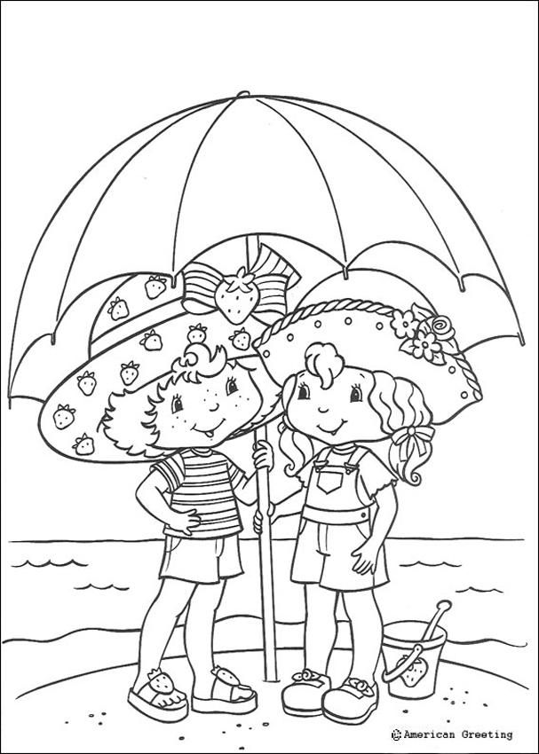 Strawberry Shortcake beach umbrella coloring pages crafts