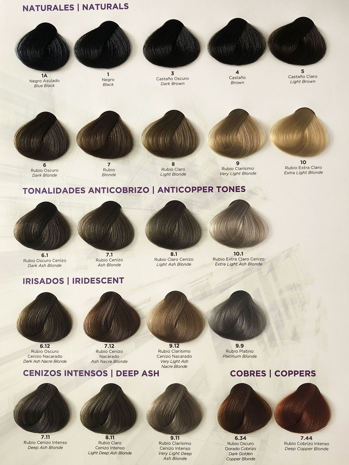 Gama de colores tinte de pelo