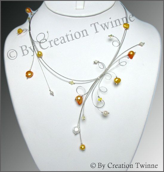 orange yellow necklace by creationtwinne on Etsy