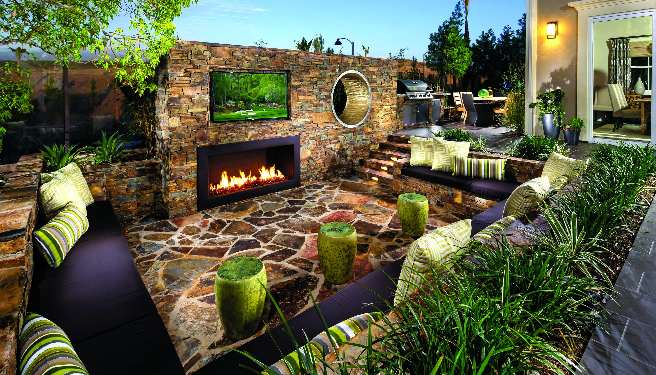 Watch the game and relax by the fire outside at Baker Ranch by Toll