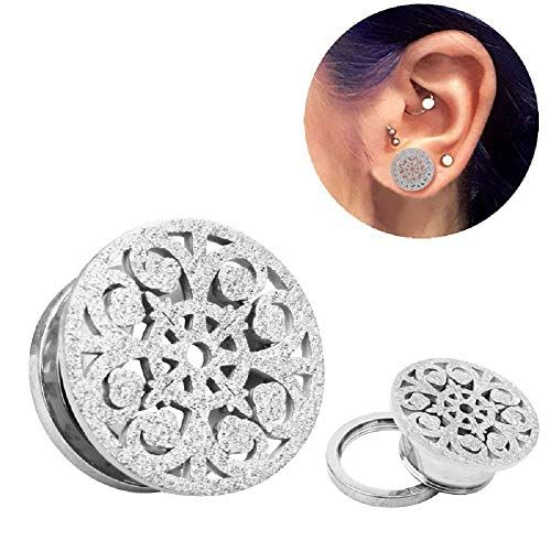 ba1c6c67f Frosted Filigree Flower Ear Plugs Tunnels Expander Gauges Stretcher Earrings  Hollow-Out Screw Stainless Steel