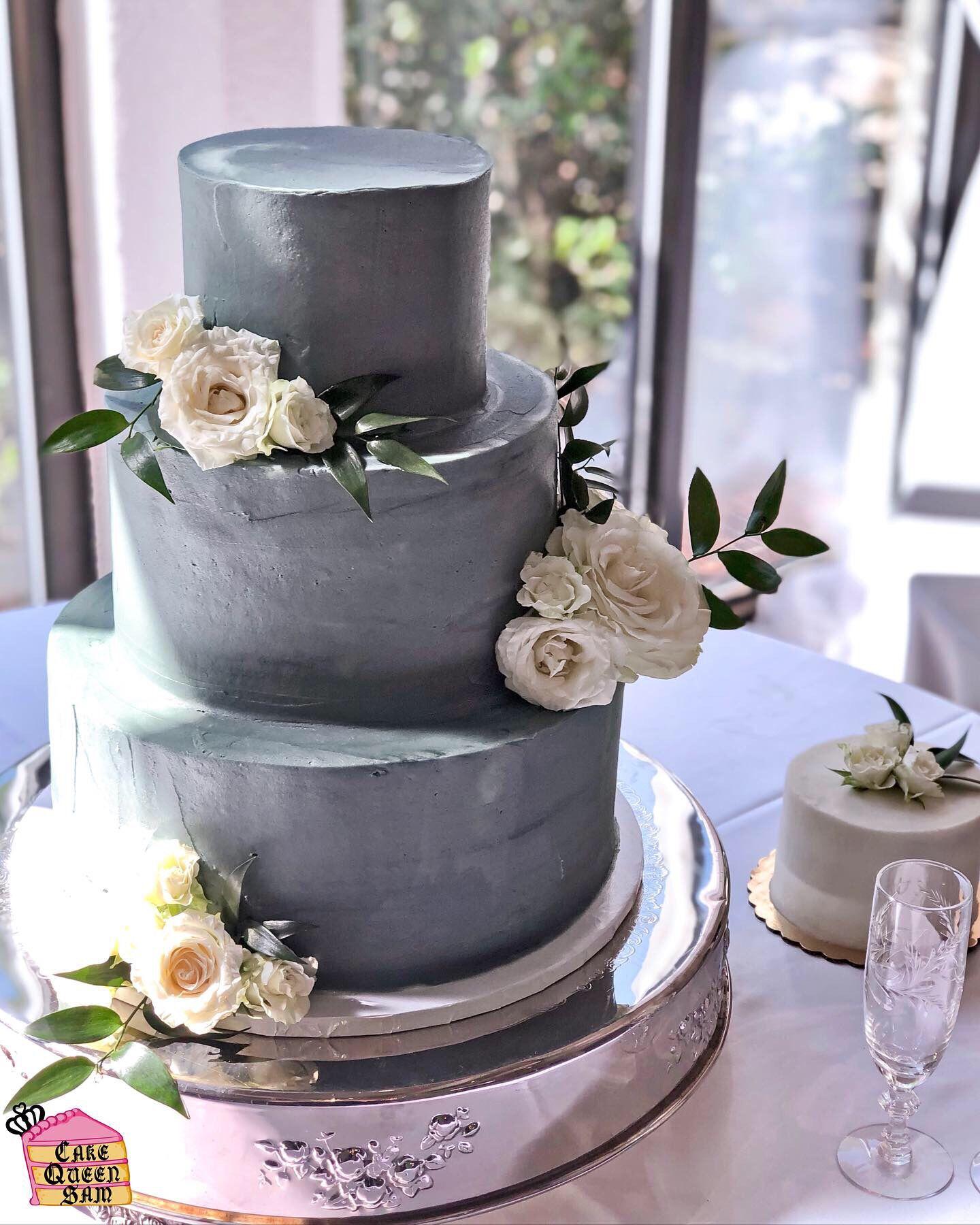 Modern White Rose Concrete Wedding Cake Modern grey gray wedding cake White Rose concrete cake