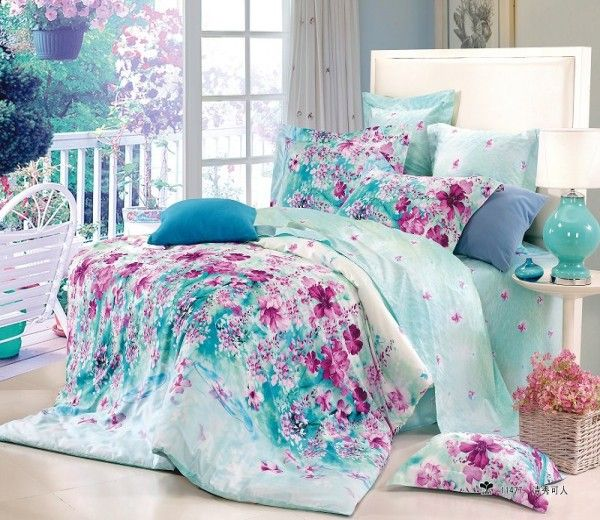 Bedroom Teenage Small Girls Room Purple Large Size: Free Shipping Flower Blue Floral Cotton Queen Size 4pc