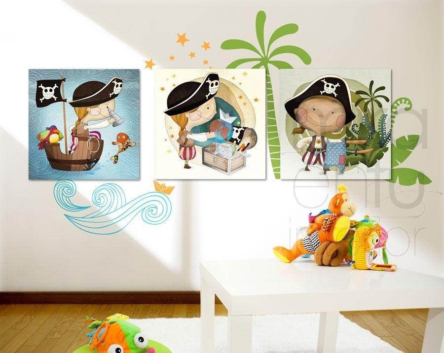 Cuadro infantil cuadro juvenil imagen pared cuadro combinado con vinilo cuartos piratas - Vinilos habitacion juvenil ...