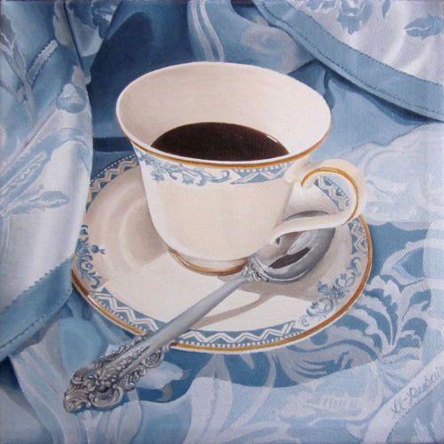 "NFAC Coffee on a blue tablecloth Original 8""x 8"" oil stretched canvas Al-Rubaie"
