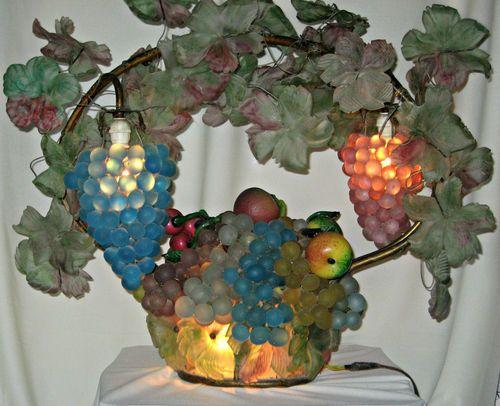 Fabulous Large Czech Glass Grape Fruit Lamp 1890 1915 Antique Glass Beaded Lampshade Gorgeous Glass