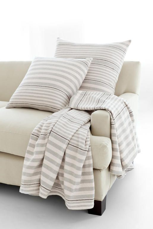 Rugby Stripe Platinum Woven Cotton Throw Woven Cotton Cotton Impressive Dash And Albert Throw Blankets