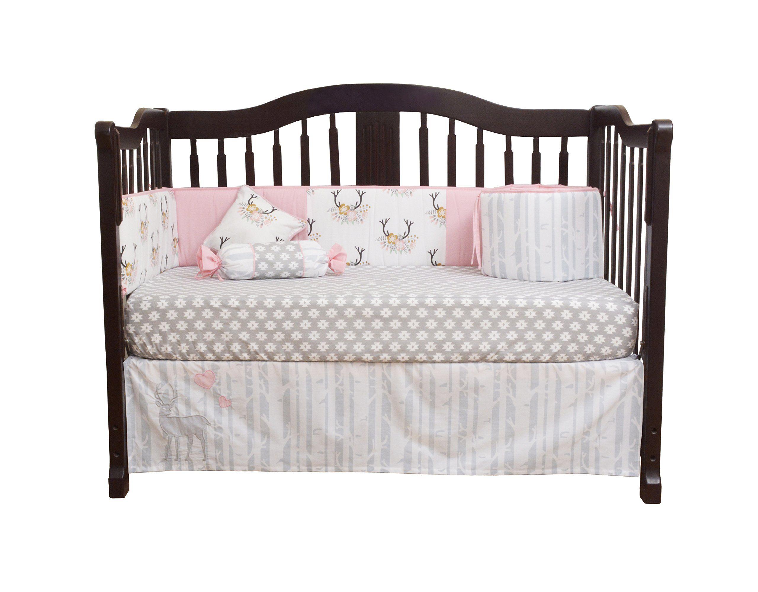 GEENNY Baby Girl Deer Family 13 Piece Nursery Crib Bedding