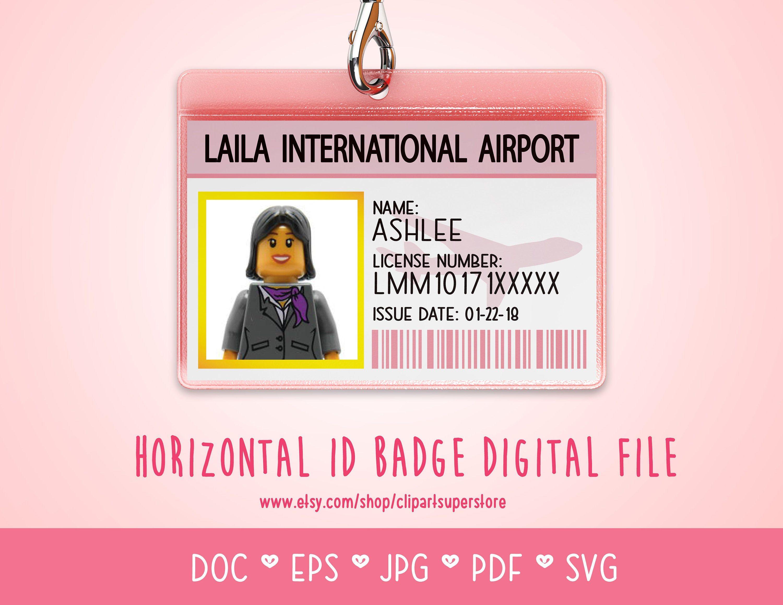 Horizontal ID Badge Tag DOC PDf SVG Instant Download