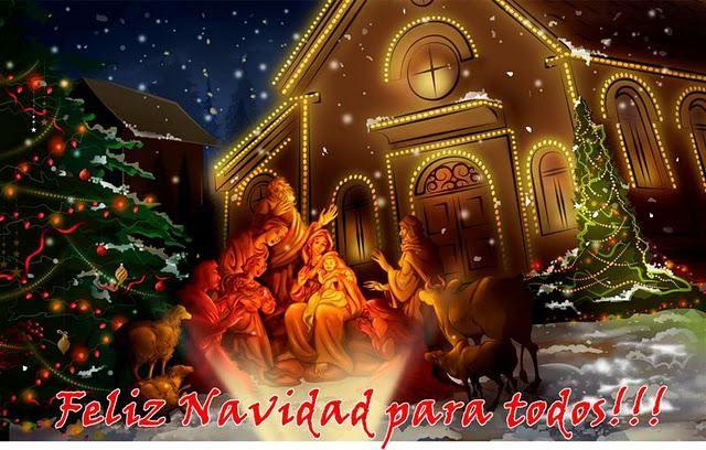 Feliz Nochebuena Y Feliz Navidad Para Todos Fondo De