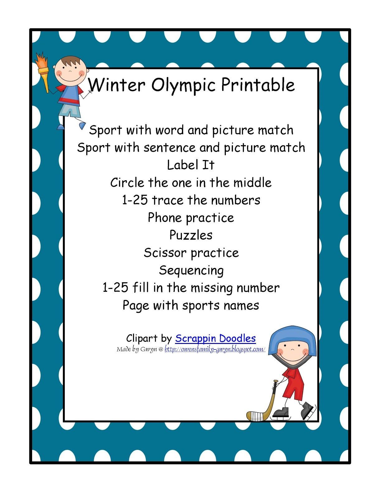 Preschool Printables Olympic