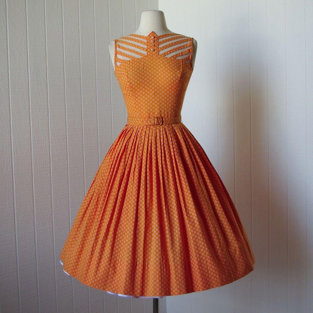 vestido vintage años 1940.. .tangerine sol de verano por traven7