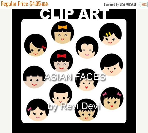 50% OFF SALE Cute kids faces with black hair. Clipart by revidevi
