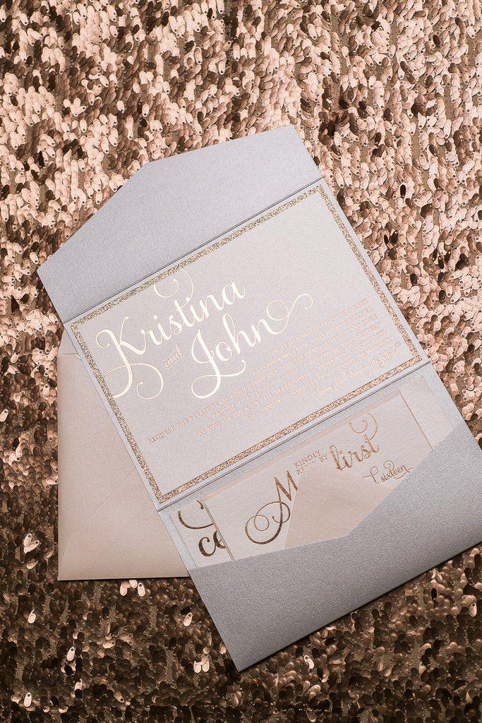 ADELE Glitter Pocket Folder, Rose Gold Foil, Rose Gold Glitter, Elegant  Blush And
